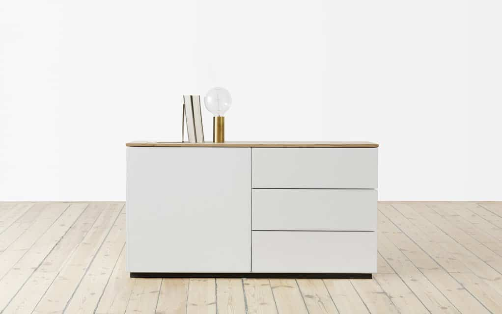 voice arctic sideboard 120 cm breit mit 3 schubladen. Black Bedroom Furniture Sets. Home Design Ideas