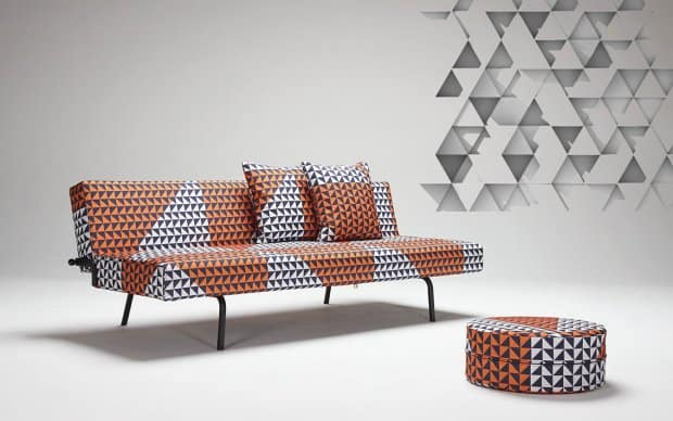 Schlafsofa Super Light Orange Weiß Blau