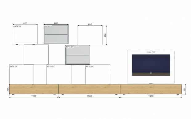 Wohnwand L5C46 Bemaßung