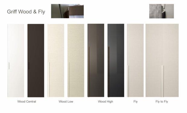 Schrank Liscia Flügeltüren Griffe Wood und Fly