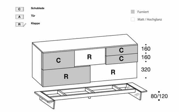 Sideboard Incontro 204 Skizze