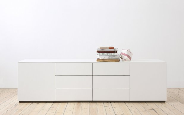 Arctic Kommode weiß 2 Türen und 6 Schubladen oder 4 Schubladen und 2 Flipfrontfächer