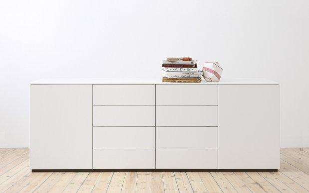 Arctic Sideboard 180 cm mit 8 Schubladen und 2 Türen