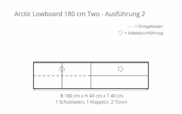 Arctic Lowboard 180 cm Two (Voice) Skizze - 1 Klapptür & 1 Schublade + 2 Türen
