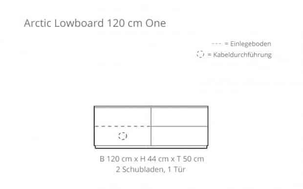 Arctic Lowboard 120 cm One (Voice) 2 Schubladen - Skizze