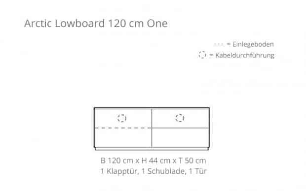 Arctic Lowboard 120 cm One (Voice) 1 Klapptür, 1 Schublade - Skizze