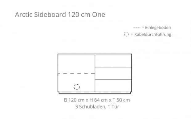 Arctic Sideboard 120 cm One (Voice) Skizze
