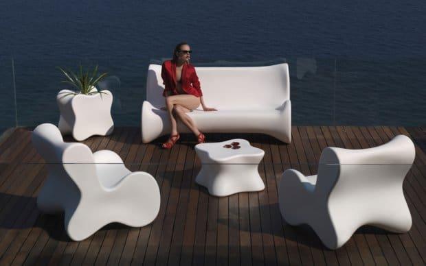 Doux Lounge Sessel (Vondom) weiß im kompletten Set