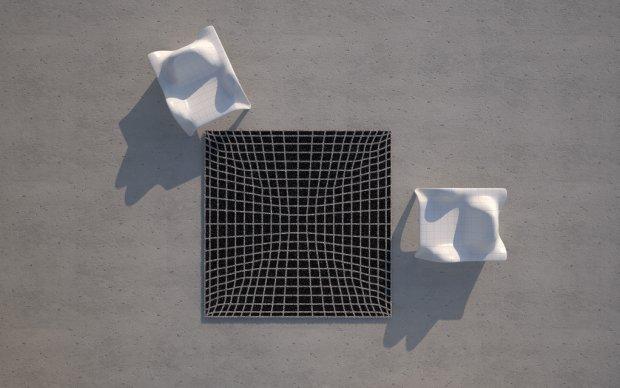 Vondom F3 Sessel Vogelperspektive mit Outdoor Teppich