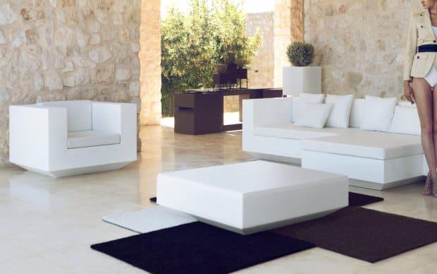 Vondom Vela Mesa Sofa Tisch weiss hochglanz