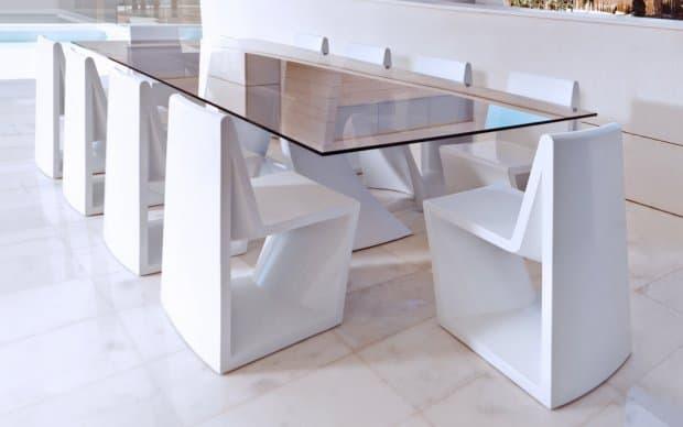 Rest Mesa Tisch weiss mit Glastischplatte