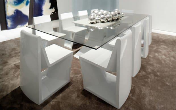 Rest Mesa Tisch weiss Hochglanz mit Glastischplatte