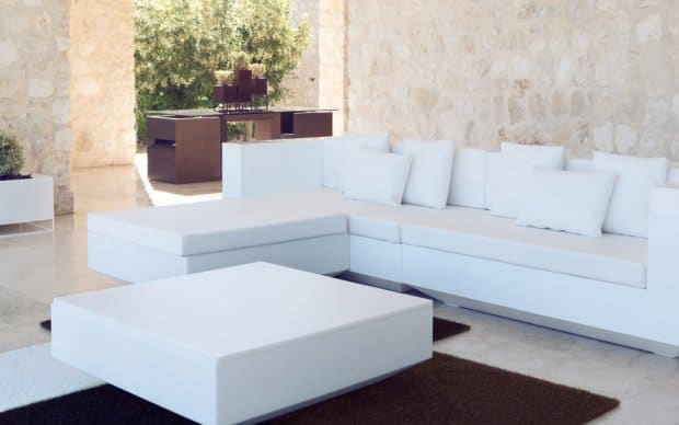 Vondom Vela Puff Chaiselongue Hocker in weiß Hochglanz