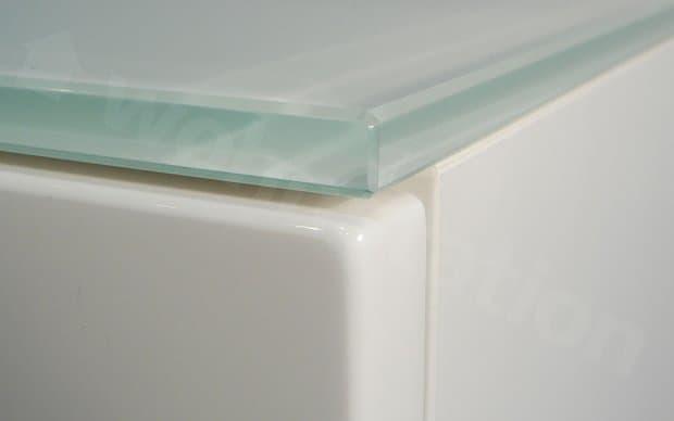 Arctic Lowboard weiße Glasplatte