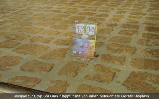 Stop Sol Glas Tür von innen Geräte Display Beispiel